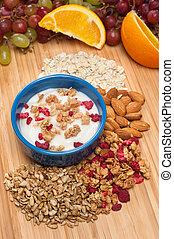 Fresh yogurt breakfast - A bowl of fresh yogurt with fresh...