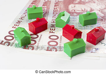 500 SEK with houses in perspective - 3 pieces of 500 SEK...