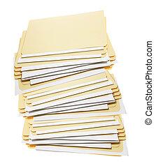 Stack of Manila Folders on White Background