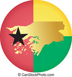 colors of Guinea-Bissau - button in colors of Guinea-Bissau