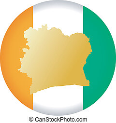 colors of Cote d'Ivoire - button in colors of Cote d'Ivoire