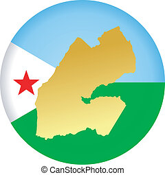 colors of Djibouti - button in colors of Djibouti