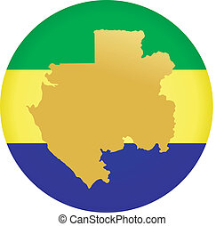 colors of Gabon - button in colors of Gabon