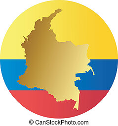 colors of Colombia - button in colors of Colombia