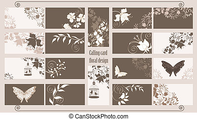 Calling cards set - Decorative floral calling cards set.