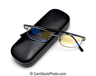 Glasses and case - The glasses and case are isolated on a...