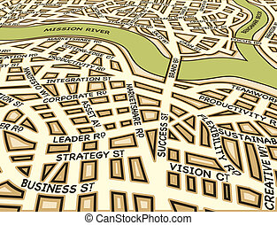 Angled success map - Editable vector street map of a generic...