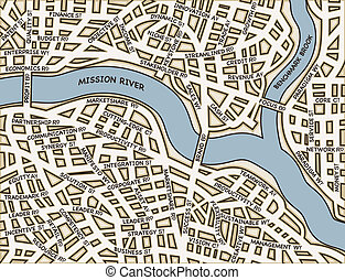 Roadmap to success - Editable vector map of a generic city...