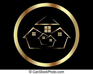 Houses Icon - Houses icon or Real Estate Gold Vector Icon