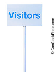 Sign visitors isolated against white background