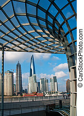 shanghai pudong view from puxi new bund on a sunny day with...