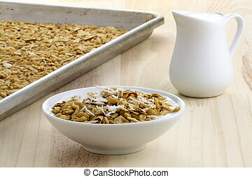 fresh from the oven healthy granola - delicious and healthy...