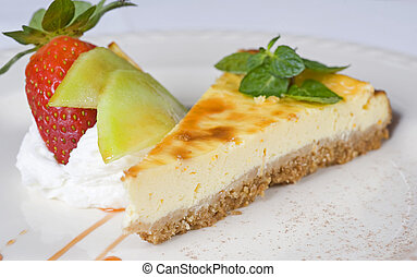 Strawberry cheesecake a la carte - Closeup detail of a...
