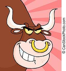 longhorn, fâché, tête