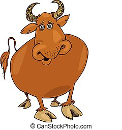 funny bull - Illustration of funny bull