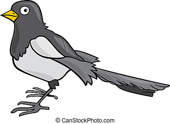 cartoon Magpie - cartoon illustration of magpie bird