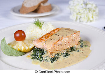 Salmon steak a la carte meal - Closeup detail of a salmon...