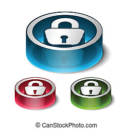 3d glossy lock icon, blue isolated on black background.