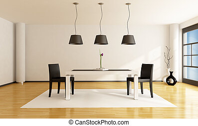 minimalist dining room with white table and two black chairs...