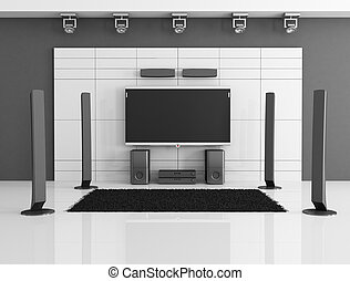 black and white home theater - empty black and white home...