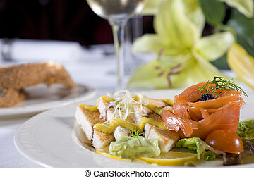 Salmon toast a la carte appetizer - Closeup detail of a...