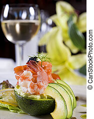 Shrimp salad a la carte appetizer - Closeup detail of a...