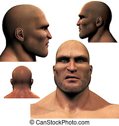 The Thug - 3D render of the head of a dangerous man