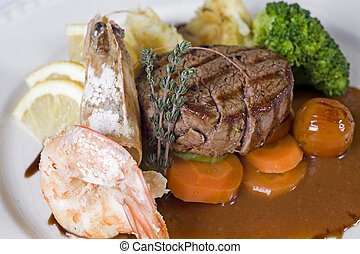 Surf n turf a la carte meal - Closeup detail of a surf n...
