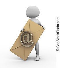 concept of email and messaging - 3d man holding envelope...