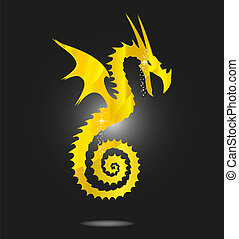 magic gold asia dragon isolated
