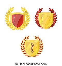 Conjunto, emblema, oro, clásico, aislado, brillante