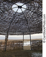 Central Asian yurt - Skeleton of national yurt of Central...