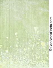 pré, fleur, pâle, vert, fond
