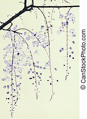 Blue Ink Blossom on Handmade Paper