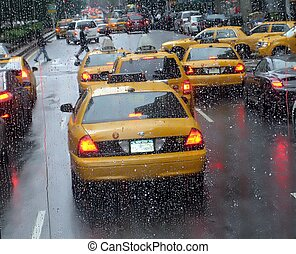Rainy day. Manhattan%u044E New-York. USA