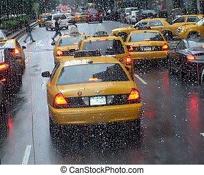 Rainy day. Manhattan%u044E New-York. USA