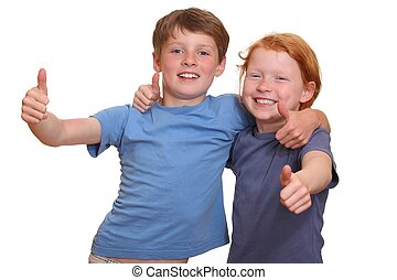 Thumbs up - Two happy young kids with thumbs up