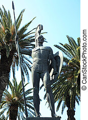 victorious Achillion - view at the bronze statue of...