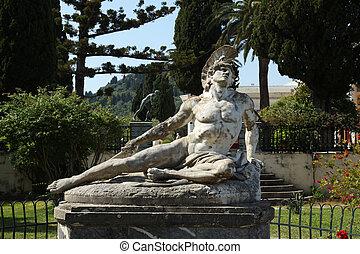 Achillion - view at the scupture of Achillion, Corfu Greece...