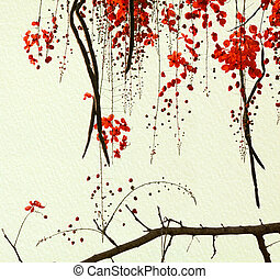 Red Blossom Tree on Handmade Paper