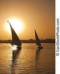 Felluca sailing on the River Nile at sunset - Fellucas on...