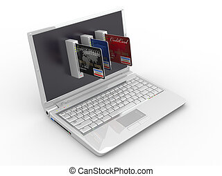 E-commerce. Laptop and credit card. - E-commerce. Laptop and...