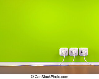 Plugs and Socket Three-dimensional abstract background 3d