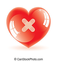 vector illustration of shiny heart with plaster