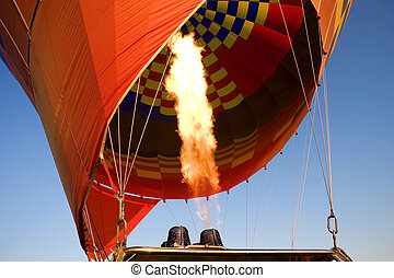 Gas burner of a hot air balloon - Gas burner filling a hot...