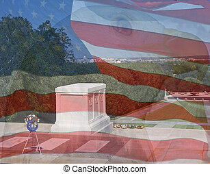 Flag, Eagle, Tomb of the Unknowns. Composite of three photos taken by the author.