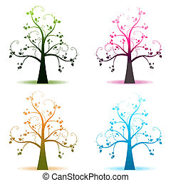 Abstract art trees of four seasons