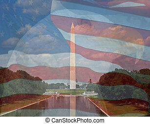 Flag, Eagle, Washington Monument. Composite of three photos...