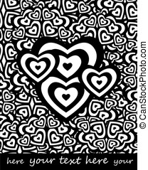 black and white valentine hearts, background for text
