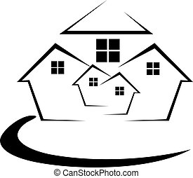 Houses in black and white vector